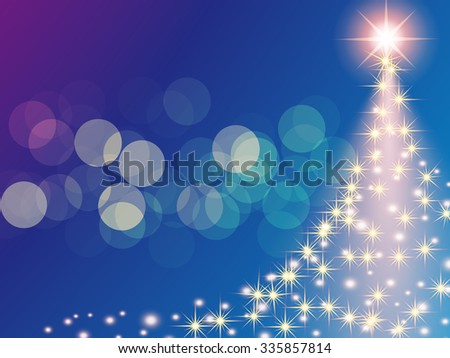 Christmas blue purple background with Christmas tree bokeh, vector illustration. - stock vector