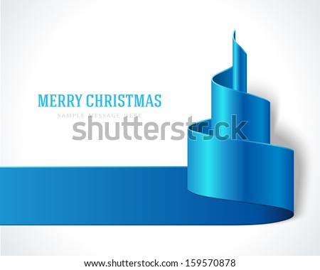 Christmas blue tree from ribbon background. Vector illustration Eps 10.  - stock vector