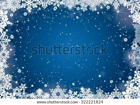 Christmas blue winter background - stock vector