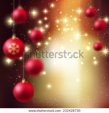 Christmas blurred background with red bauble - stock vector