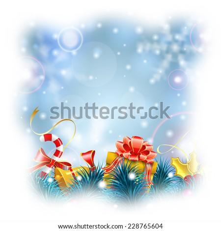 Christmas Blurred Bokeh Background with Snowflakes, Gift, Fir Branches, Gold Streamer and Candy, vector illustration. - stock vector