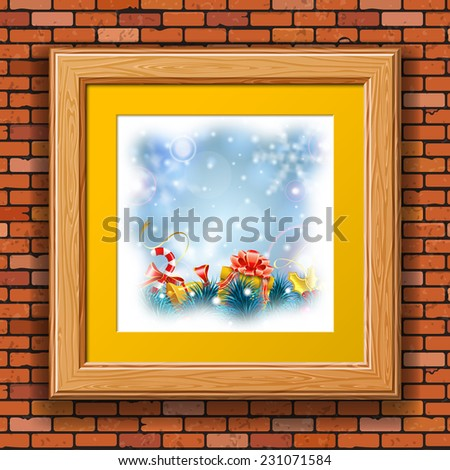 Christmas Blurred Bokeh Background with Snowflakes, Gift, Fir Branches, Gold Streamer and Candy in Wooden Frame on Brick Wall. - stock vector