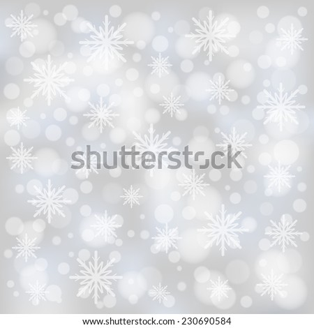 Christmas bokeh background with snowflakes  - stock vector