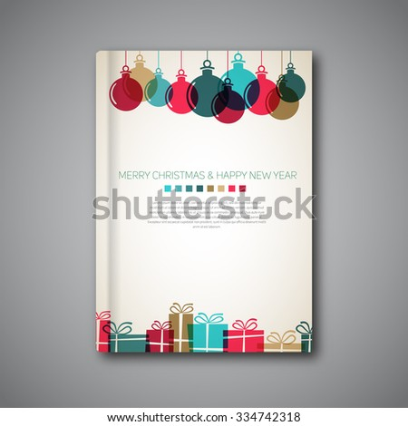 Christmas book cover or flyer template, vintage retro gifts and balls style, simple design - stock vector
