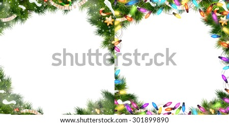 Christmas Border Set - tree branches with golden baubles, stars, snowflakes isolated on white. EPS 10 vector file included - stock vector