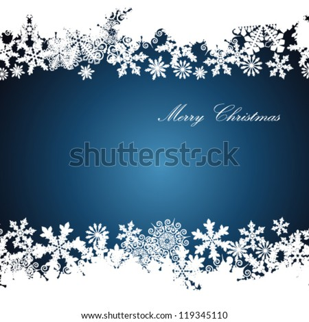Christmas border, snowflake design background. - stock vector
