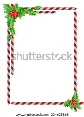 Christmas border with candy cane and Holly leaves - stock vector