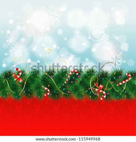 Christmas Border with Fir Branches and Candy, vector illustration - stock vector