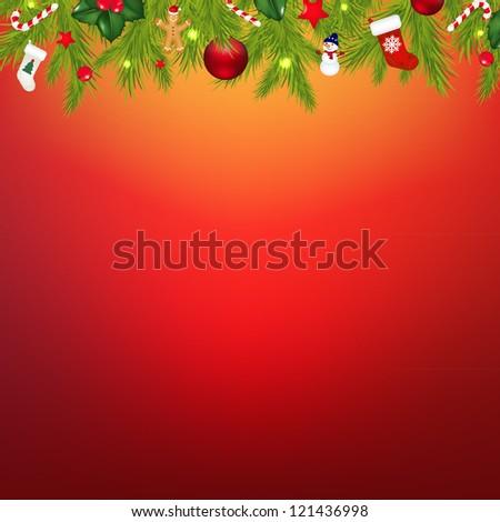 Christmas Border With Garland, With Gradient Mesh, Vector Illustration - stock vector