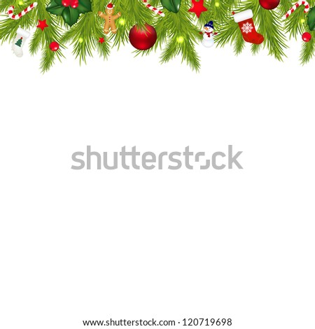 Christmas Border With Xmas Garland Isolated On White Background With Gradient Mesh, Vector Illustration - stock vector