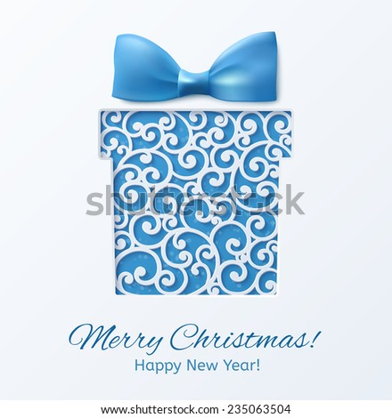 Christmas box with a blue bow. Design elements for holiday cards.  Beautiful applique. Abstract design. Vector illustration. - stock vector