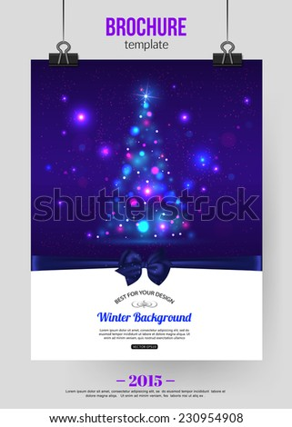Christmas brochure template. Abstract typographical flyer design with xmas tree lights and place for text. Vector illustration. - stock vector