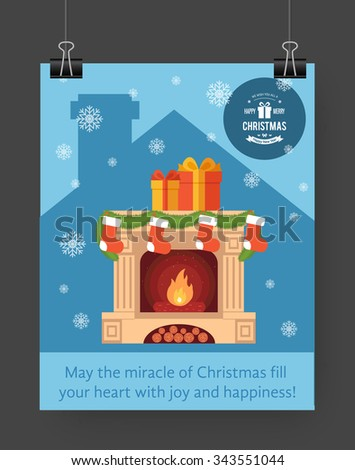 Christmas brochure template. Flat flyer design Xmas fireplace,presents, Christmas logo. Vector illustration. - stock vector