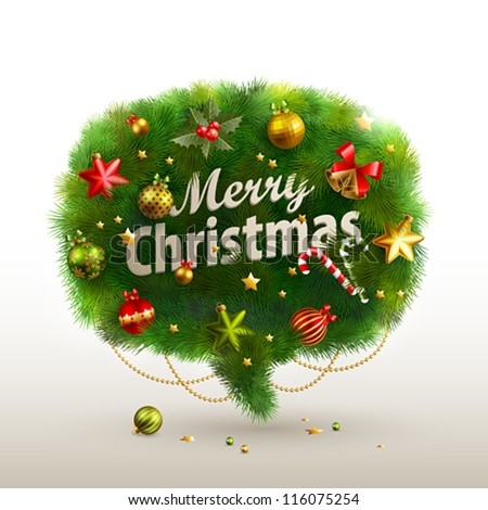 Christmas Bubble for speech - fir tree. Vector illustration.