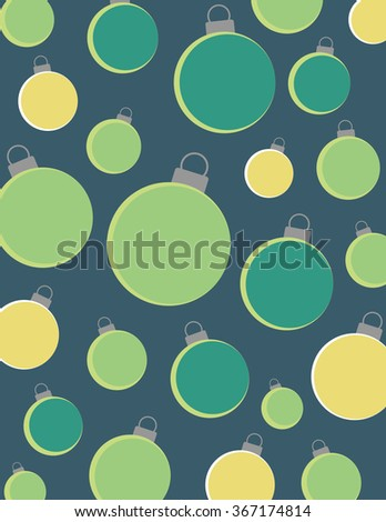 Christmas bulbs over solid blue background - stock vector
