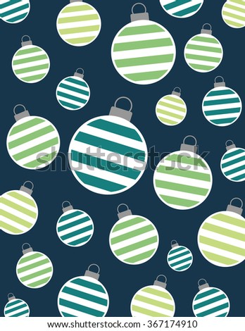 Christmas bulbs with stripes over solid blue background - stock vector