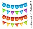 Christmas bunting flags - stock vector