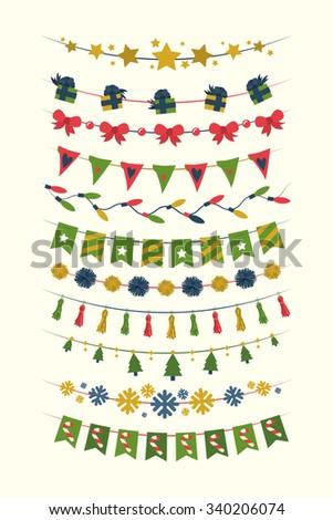 Christmas bunting set - stock vector