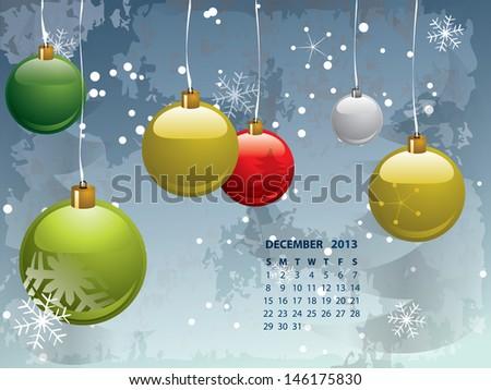 Christmas Calendar 2013 - stock vector