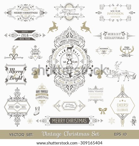 Christmas Calligraphic Design Elements and Page Decoration, Vintage Frames - vector set - stock vector