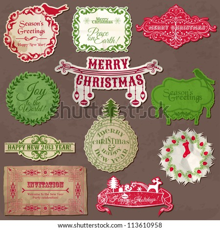Christmas Calligraphic Design Elements and Vintage Frames - in vector - stock vector