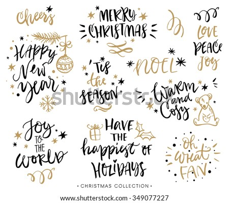 Christmas calligraphy phrases. Hand drawn design elements. Handwritten modern lettering.