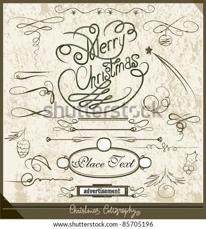 Christmas calligraphy set - stock vector