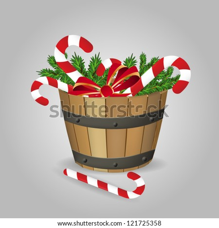 Christmas Candies in Bucket - stock vector