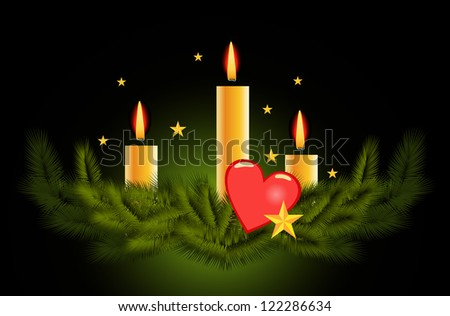 Christmas candle vector background - stock vector