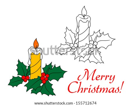 Christmas candle with holly for holiday design. Jpeg (bitmap) version also available in gallery - stock vector