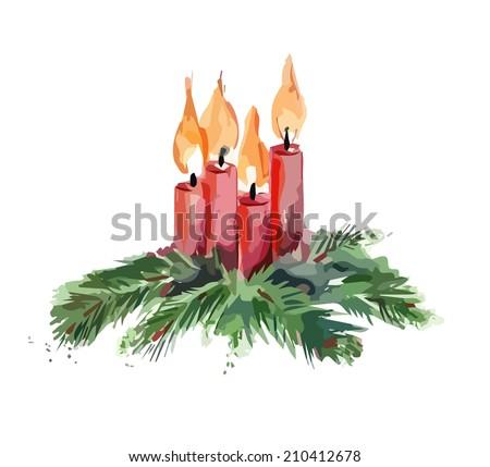 Christmas Candles  - stock vector