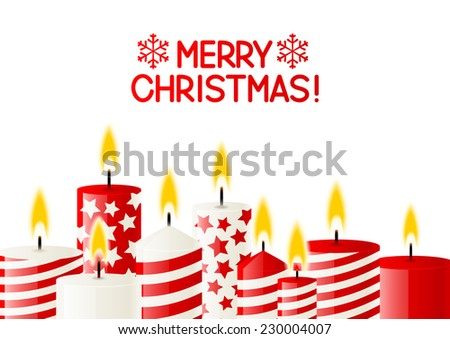 Christmas candles on white background