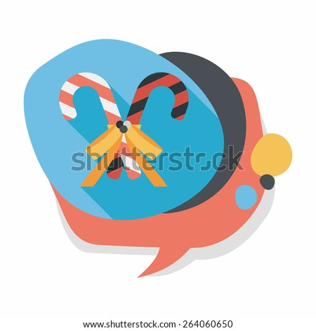 Christmas candy cane flat icon with long shadow,eps10 - stock vector