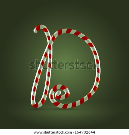 Christmas Candy cane traditional sweets abc capital letter D - stock vector