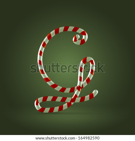 Christmas Candy cane traditional sweets abc capital letter G - stock vector