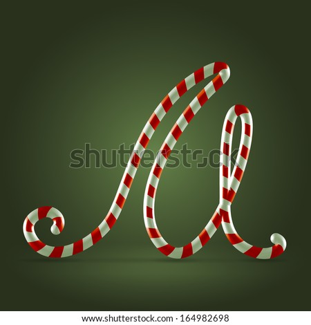 Christmas Candy cane traditional sweets abc capital letter M - stock vector