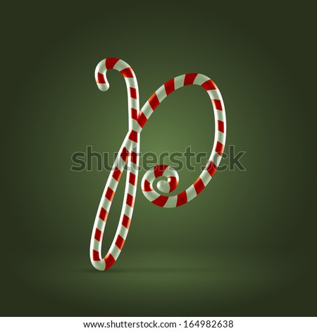 Christmas Candy cane traditional sweets abc capital letter P - stock vector