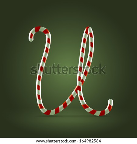 Christmas Candy cane traditional sweets abc capital letter U - stock vector