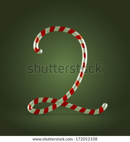 Christmas Candy cane traditional sweets abc numeral 2 - stock vector