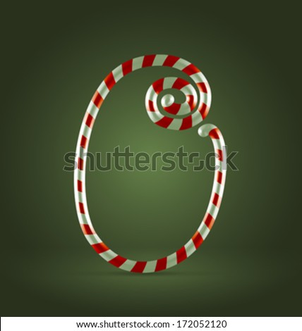 Christmas Candy cane traditional sweets abc numeral 0 - stock vector