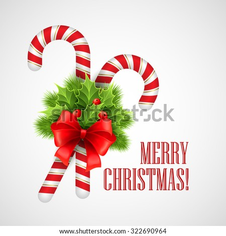 Christmas candy cane with holly and red bow. Vector illustration EPS 10 - stock vector