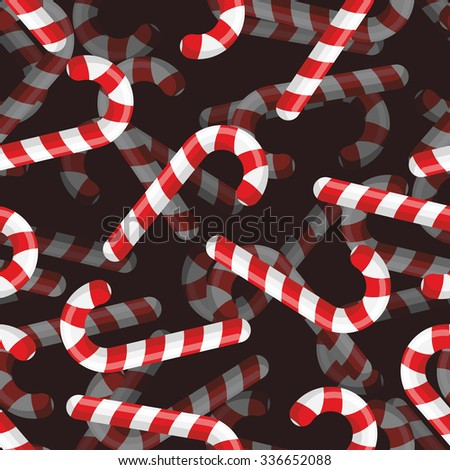 Christmas candy seamless pattern. 3D background Striped candy. Mint sweets for holiday.