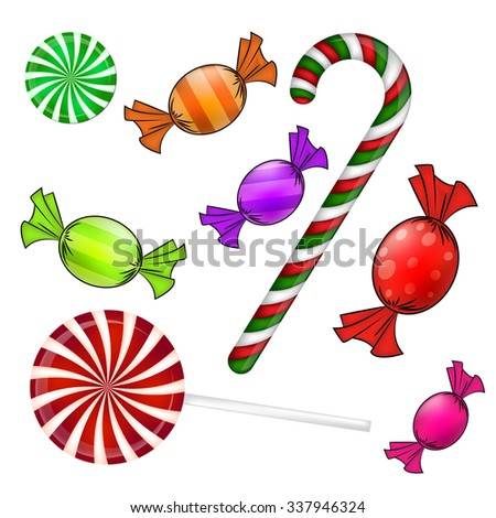Christmas candy set. Colorful wrapped sweet, lollipop, cane. Vector illustration isolated on a white background. - stock vector
