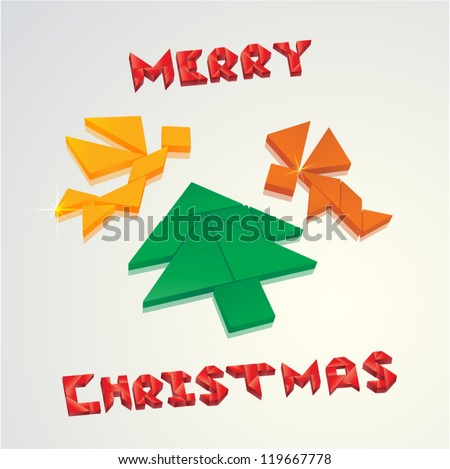 christmas card angels and christmas tree created from tangram pieces