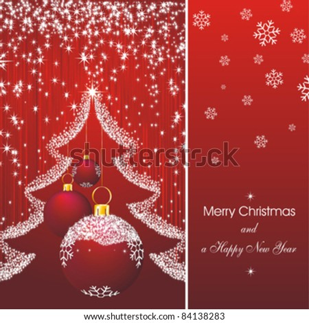 Christmas card as abstract red background with new year stars, fir silhouette and red decorations