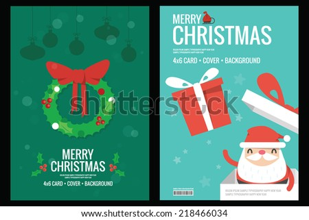 Christmas card - background flat design, vector - stock vector