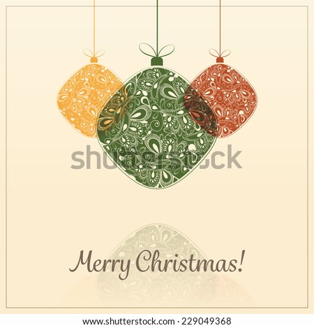 Christmas Card Background with Christmas Balls - stock vector