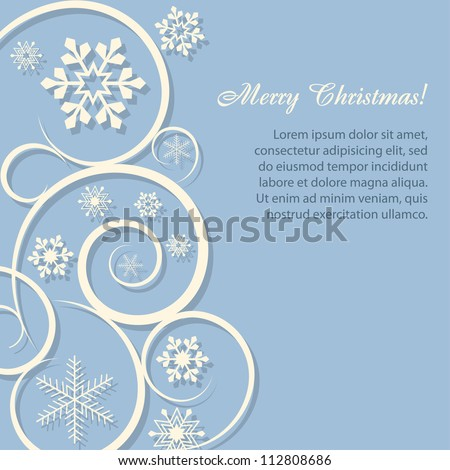 Christmas card/background with paper snowflakes