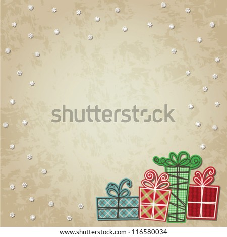 Christmas Card/ Background With Presents - vector - stock vector