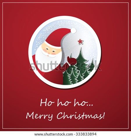 Christmas Card Background With Santa Claus - stock vector